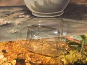 Vintage / Design - Veche sticla de felinar cu scris in relief LUNA !
