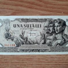 ROMANIA - 100 LEI -  AUGUST 1947 UNC . NECIRCULATA