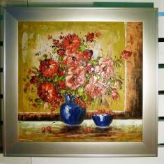 Tablou pictat manual pe panza in ulei Vaza cu Flori A-219, Natura, Realism