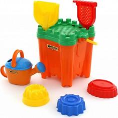 Set Maxi Castel galetusa cu 7 accesorii pentru nisip