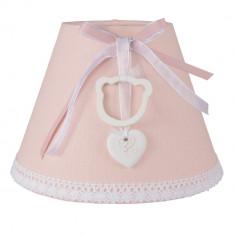 Abajur veioza textil roz cu dantela Ø 22x15 cm