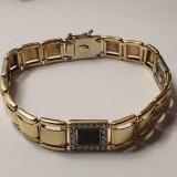 Bratara unisex din aur galben 14K cu onix si zirconii