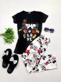 Pijama dama bumbac primavara-vara neagra cu maneca scurta si imprimeu simpatic Kiss