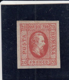 ROMANIA 1865  LP 17 A. I. CUZA  VALOAREA  20  PARALE ROSU POINCON L. PASCANU MNH