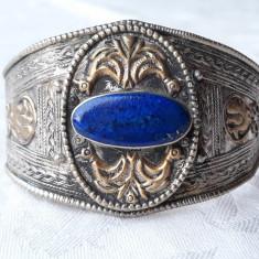 BRATARA argint TRIBALA NEPAL cu LAPIS LAZULI vintage REGLABILA lata DE EFECT