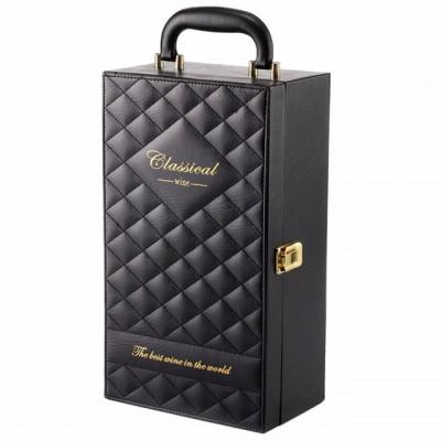 Cutie caseta eleganta cu 2 compartimente pentru sticle de vin, model Premium cu maner si 4 accesorii incluse, negru foto