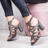 Sandale cu toc dama gri Piselia
