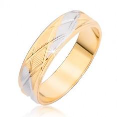 Inel în două culori cu un model de romb şi adâncituri verticale - Marime inel: 51