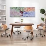 Set tablouri din pânză, copac în ploaie, multicolor, 150x60 cm, vidaXL