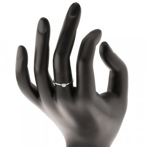 Inel din aur alb 14K - zirconiu transparent în montură lucioasă, brațe înguste - Marime inel: 49