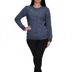 Bluza din lana tricotata cu aplicatii de margele,nuanta bleumarin