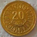Moneda exotica 20 MILLIM - TUNISIA, anul 1997  *cod 2855 = NECIRCULATA