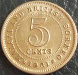 Moneda exotica 5 CENTS - MALAYA & BORNEO, anul 1961 *cod 5341 = excelenta, Asia