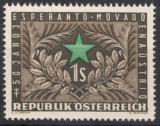 AUSTRIA 1954 - ANIVERSARE , ESPERANTO  TIMBRU NESTAMPILAT