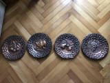 Farfurii,panoplii englezesti,cele 4 anotimpuri,basorelief in cupru