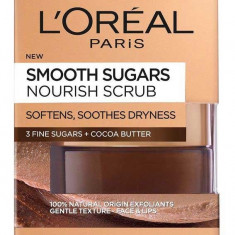 Scrub exfoliant cu zahar pentru ten uscat L Oreal Paris Smooth Sugars Nourish Scrub 50 ml