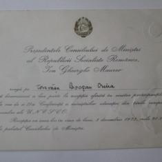 Invitatia lui I.Gh.Maurer catre Crina Decusara Bocsan la receptia UNESCO 1973