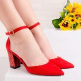 Pantofi dama cu toc rosii Klimolia