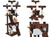 Ansamblu de joaca pentru pisici, cu 2 casute, Plus, 170 cm, Maro