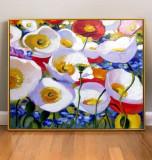 Tablou multicolor tablou cu flori pictura cu maci rosi pictura cu peisaj de vara