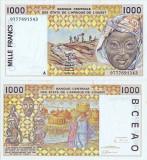 1997, 1.000 francs (P-111 Ag) - Coasta de Fildeș  stare XF+++!