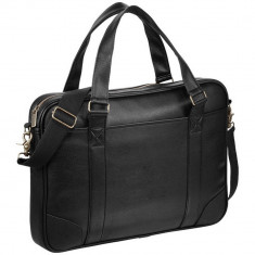 Servieta Laptop, Everestus, OD, 15.6 inch, piele ecologica, negru, saculet de calatorie si eticheta bagaj incluse