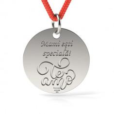 Pandantiv Te Amo cu Snur reglabil din Argint 925 personalizabil