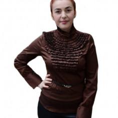 Camasa fashion cu design de fodre multiple in fata, nuanta de maro