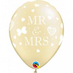 Baloane nunta ivory Mr. & Mrs. 28 cm set 5 buc