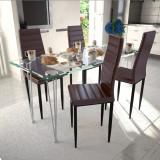 Set de sufragerie cu scaune zvelte maro 4 buc și masă de sticlă, vidaXL
