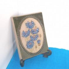 Tablou ceramica basorelief hand made -Albastrele 2- semnat Aimo Nietosvuori JIE