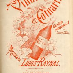 Vinul de Cotnari - Lazare Elias C. Gebauer Partitura Muzicala Rara Reclama Lito