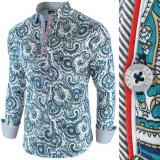Camasa pentru barbati, cu model, slim fit, casual wh5 - Latin Soul Reloaded, L, S, XL, XXL, Maneca lunga