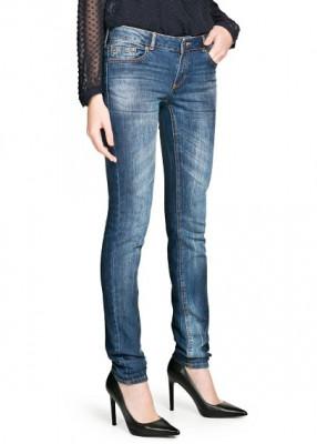 Jeans dama slim-fit cu talie normala de culoare bleumarin foto