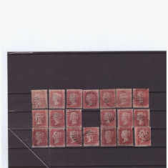 ANGLIA 1858-VICTORIA one penny -4 litere -Lot de 20 timbre dantelate stampilate