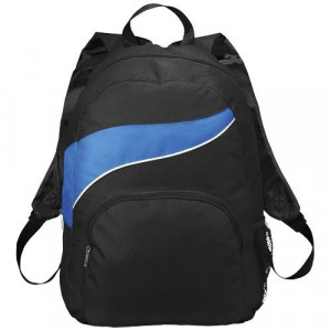 Rucsac cu buzunare laterale mesh, buzunar frontal, Everestus, TO, 600D poliester, negru, albastru, saculet si eticheta incluse