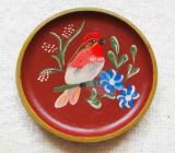 Farfurie decorativa cu Botgros.Pictura naiva pe disc din lemn nobil.Vintage.