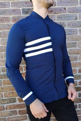 Camasa tunica bleumarindungi - camasa tunica LICHIDARE STOC camasa slim #203 foto