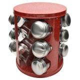 Set condimente Zephyr, pivotant, 3 etaje, 12 piese, suport otel inoxidabil, model marmorat
