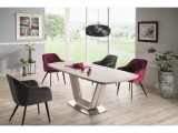Set masa extensibila din ceramica, MDF si metal Armani Gri deschis + 2 scaune Elina Velvet Burgundy + 2 scaune Elina Velvet Gri, L160-220xl90xH76 cm