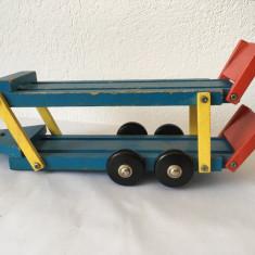 Remorca dubla-platforma pentru masini, de lemn, cca 30x8x6cm, vechi, vintage
