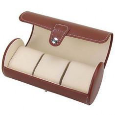 Cutie caseta depozitare si transport pentru 3 ceasuri, maro