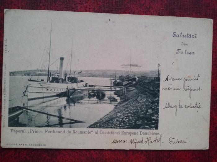 C.P.circ.-Vaporul Printul Ferdinand de Romania,stamp vas Sulina-Tulcea F.F.RARA