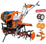 Motosapatoare RURIS 913ACC + roti cauciuc 5.00-12 + plug reversibil rev2 + roti metalice 500