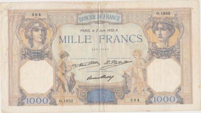 FRANTA 1000 FRANCS FRANCI CERES ET MERCURE 02-06-1932 UZATA foto