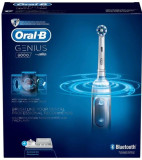 Periuta de dinti electrica Oral-B Genius 8000, 40000 pulsatii/min, 8800 rpm, Curatare 3D, Bluetooth, SmartRing 360°, 5 Programe, 3 Capete (Alb)