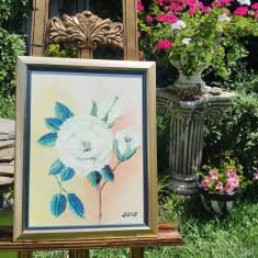 """PICTURA, TABLOU modern, decorativ,""""Un trandafir"""",  NOU ,  pictor roman"""