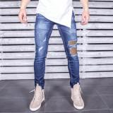 Blugi pentru barbati, albastri, slim fit, conici, casual, skinny, rupturi decorative - 0058, 32, Albastru, Lungi