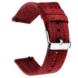 Curea material textil, compatibila cu Huawei Watch GT, Telescoape QR, 22mm, Mahon Red