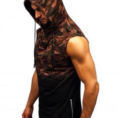 Tricou tank top cu glugă bărbați camuflaj-maro Bolf 308